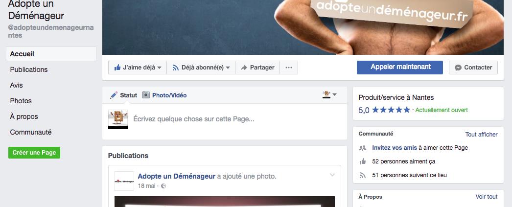 Création de la page Facebook : Adopte un Déménageur - Label Communication
