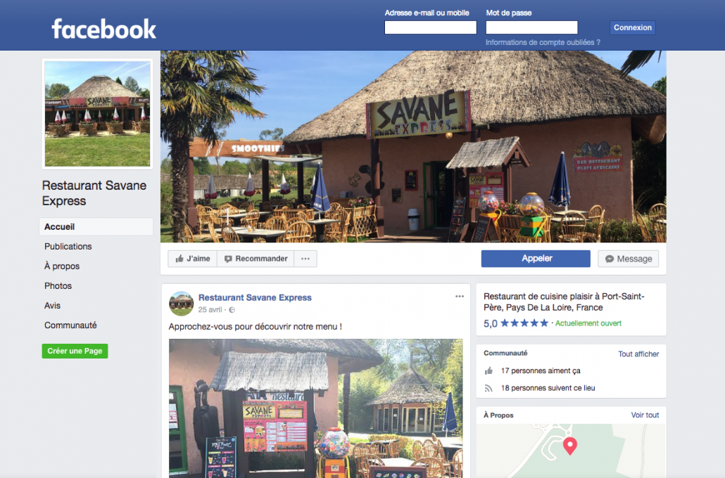 Page publique Facebook pour le Restaurant Savane Express - Label Communication