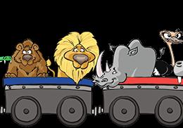 Illustration d'animaux dans un train pour Savane Express - Label Communication