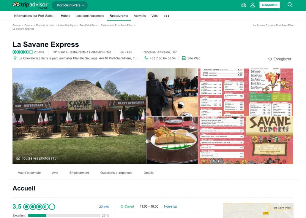Page publique TripAdvisor pour le Restaurant Savane Express - Label Communication