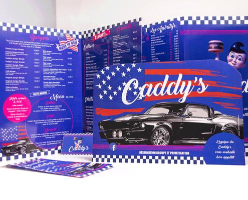 Menus, carte de visite et flyers pour le restaurant Le Caddy's à Nantes (44)