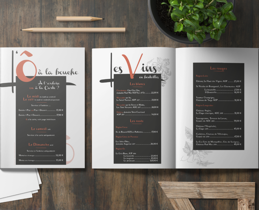Carte des menus et boissons, L'Ô à la bouche restaurant bistronomique à Vertou (44)