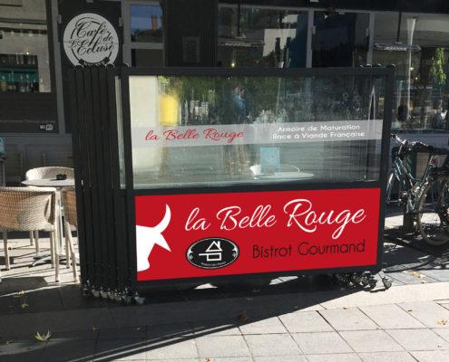 Simulation adhésif sur claustra pour La Belle Rouge, restaurant à viande à Nantes (44)