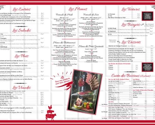 Menu caisson extérieur pour La Belle Rouge, restaurant à viande à Nantes (44)