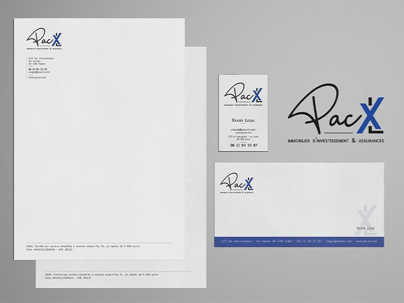 Logo PAC XL Papeterie Carte De Visite Papier En Tete Carton Correspondance Pour