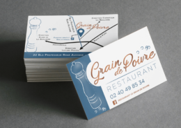 Refonte identité visuelle - Cartes de visite du restaurant Le Grain de Poivre à Nantes