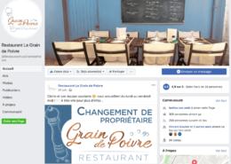 Gestion de la page Facebook du restaurant Le Grain de Poivre à Nantes